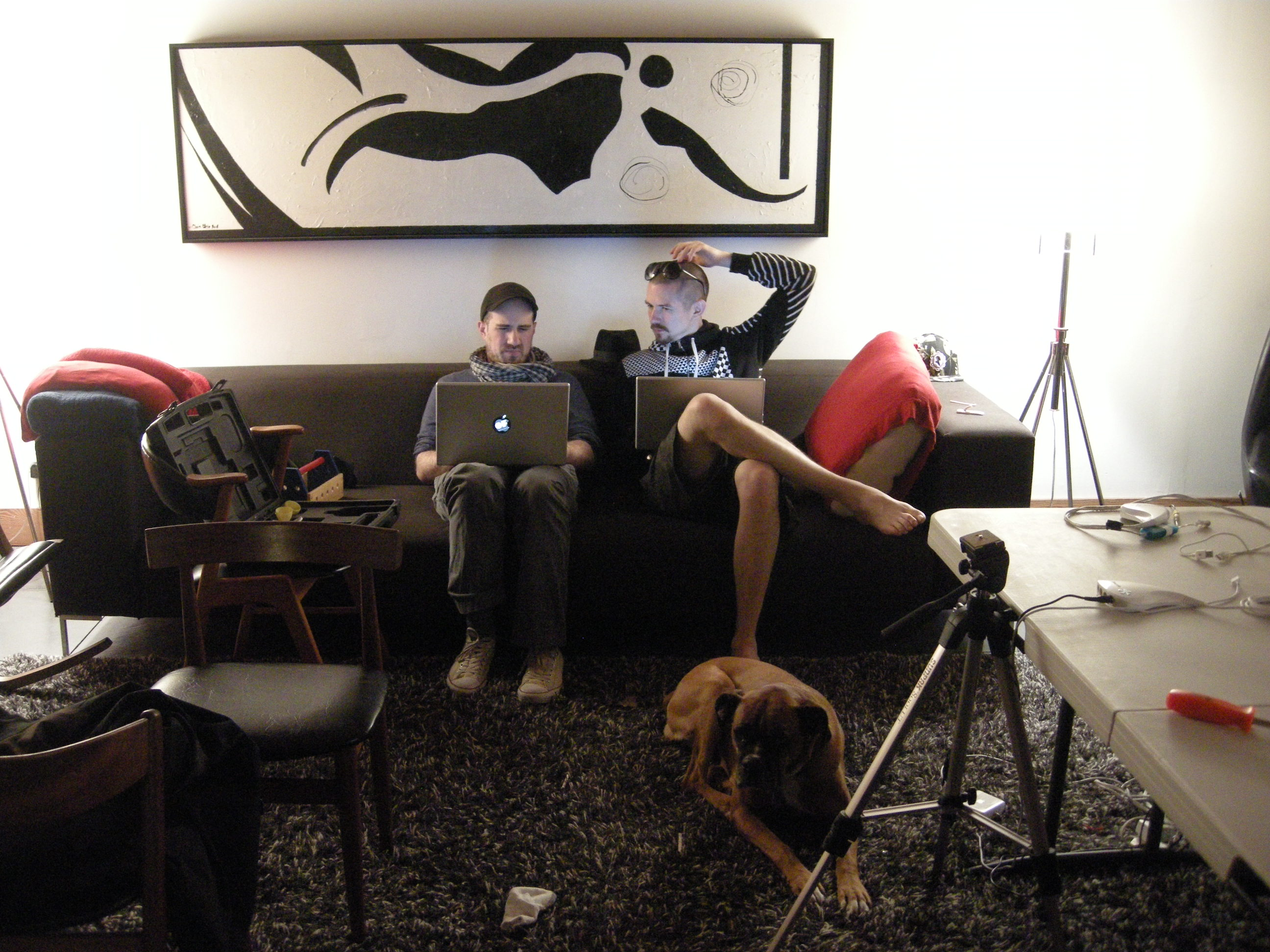 Zach Lieberman and Theo Watson being smart on the couch.
